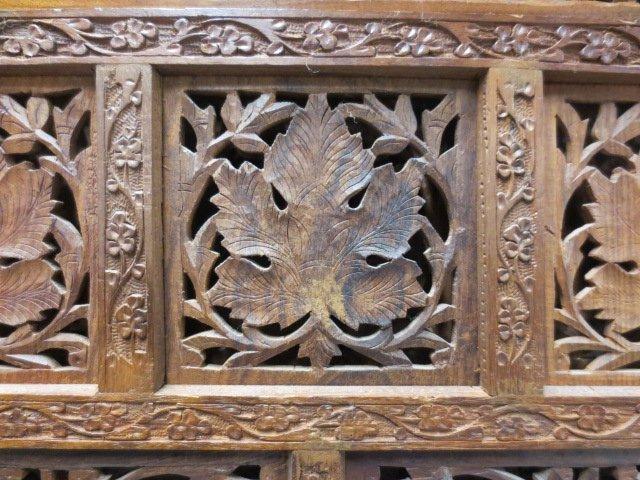 Chinese Fretwork Carved Teak Four Panel Floor Screen - 6