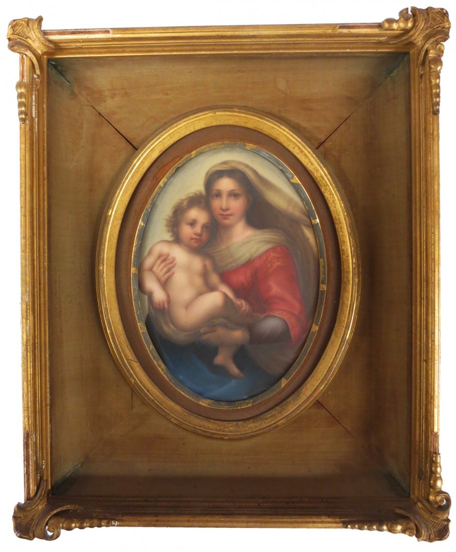 KPM plaque depicting Sistine Madonna signed