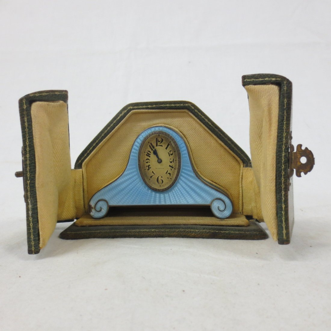 French blue Enamel and Silver Mantel Clock, marked