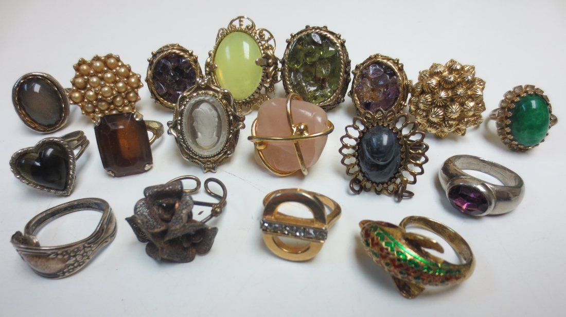 Vintage costume jewelry cocktail rings, intaglio, - 2