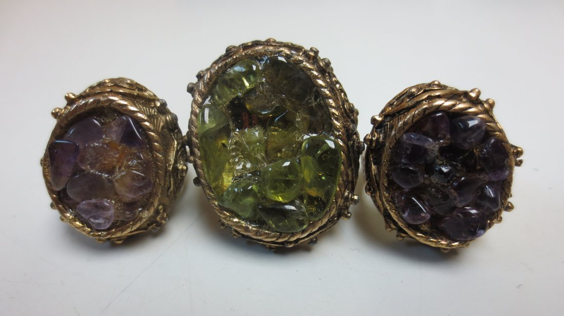 Vintage costume jewelry cocktail rings, intaglio, - 3