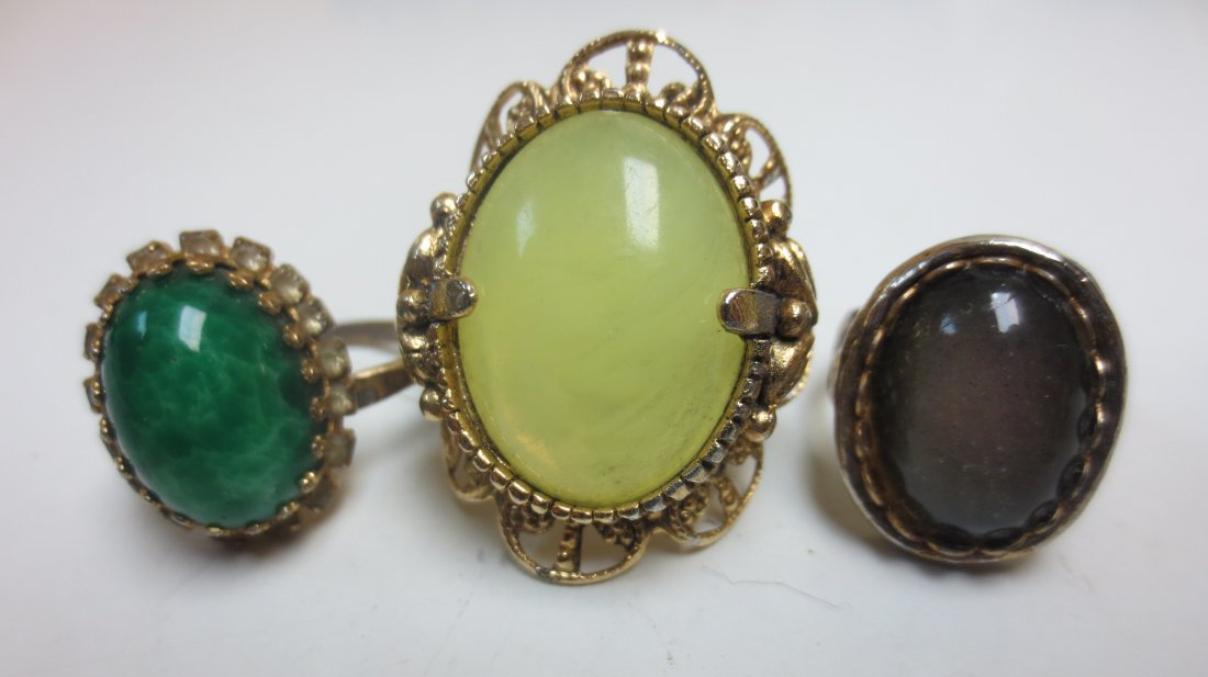 Vintage costume jewelry cocktail rings, intaglio, - 5