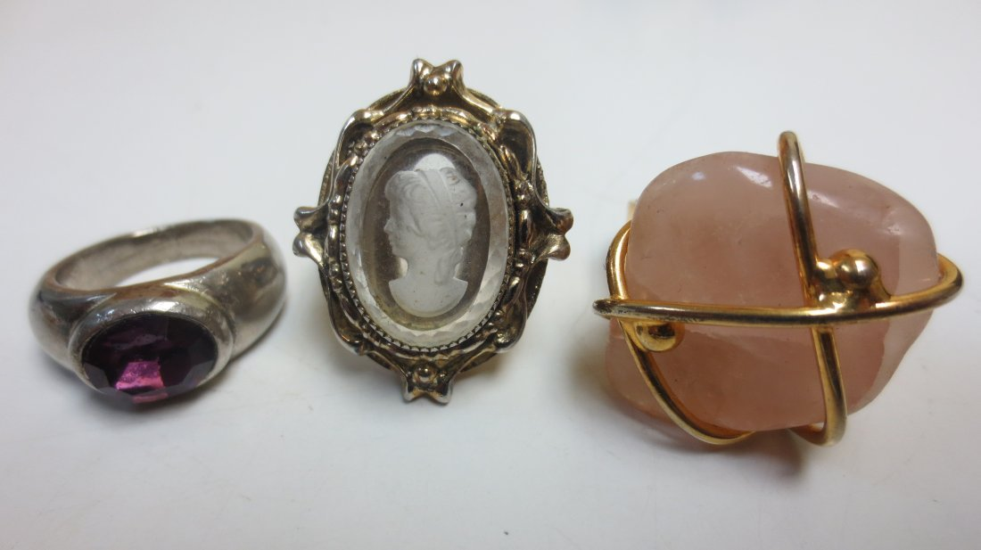 Vintage costume jewelry cocktail rings, intaglio, - 6