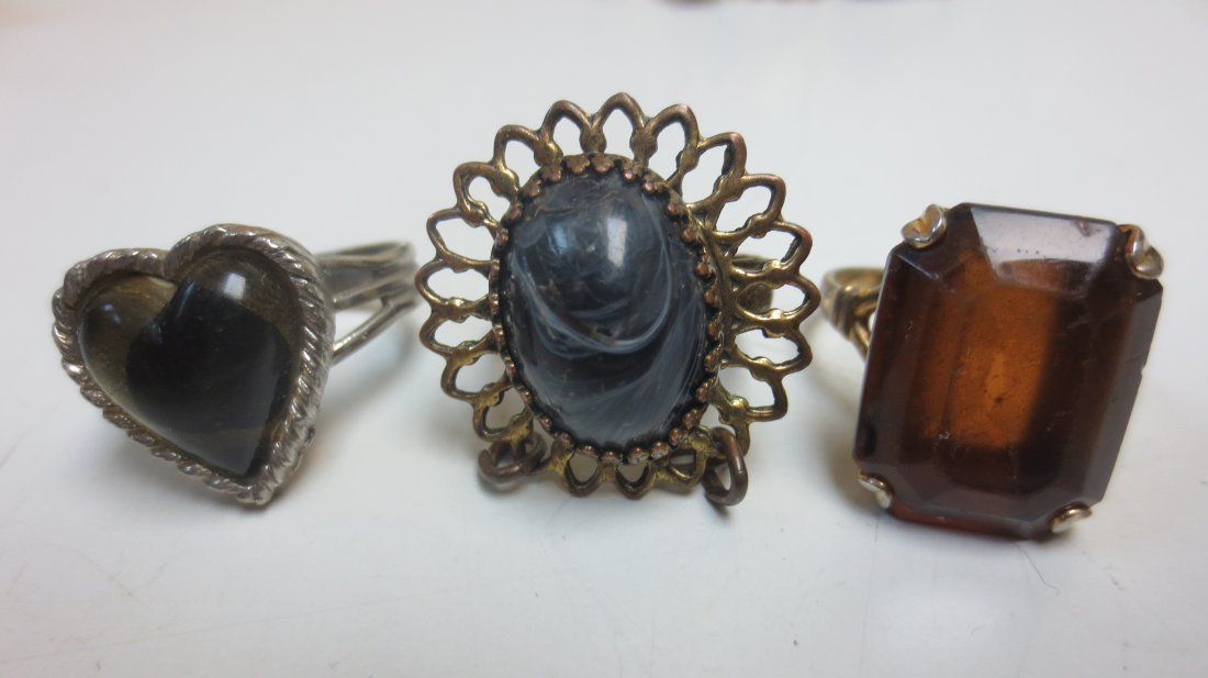 Vintage costume jewelry cocktail rings, intaglio, - 7