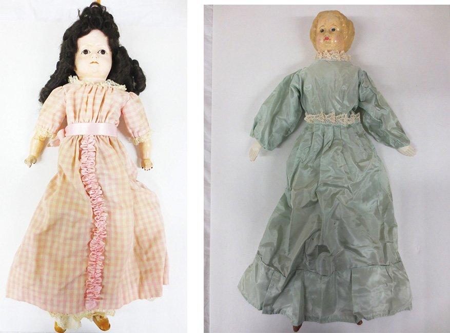 Two (2) antique paper mache dolls
