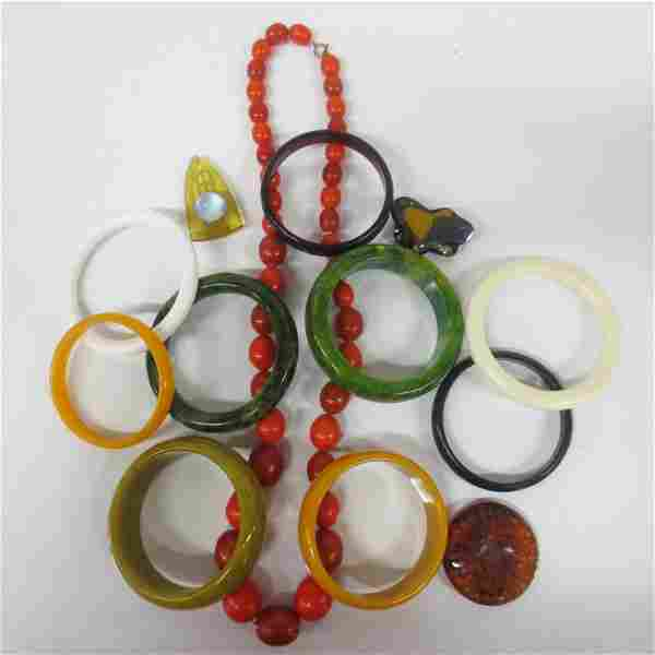 Large collection Bakelite Jewelry