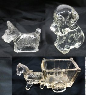 Three (3) Glass Candy Containers