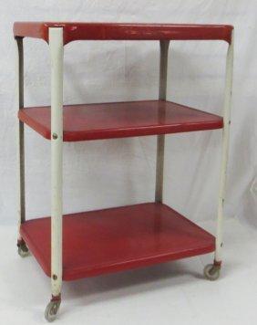 Vintage Industrial Red Painted Metal Cart