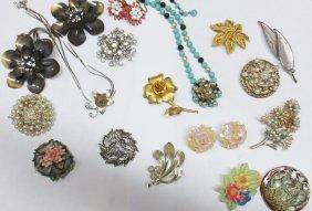 Floral Costume Jewelry, Lisner, Trifari