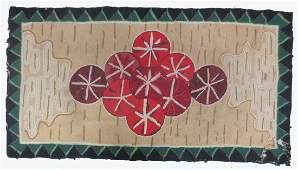 American Folk Art 19th C. hooked rug, floral center,