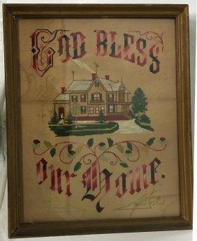 """Large Antique Sampler """"god Bless Our Home"""""""