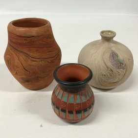 Three (3) Native American Clay Vases