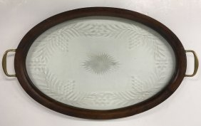 Mahogany Oval Etched Glass Serving Tray Brass Handles