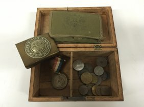 Military Wood Box, With Contents, Queen Victoria