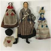 Two 2 Antique China head dolls and paper mache doll
