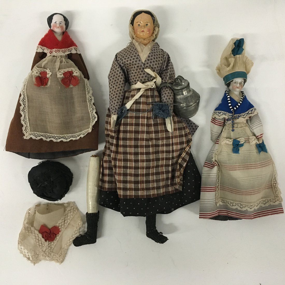 Two (2) Antique China head dolls and paper mache doll