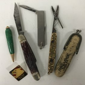 Collection: Pocket Knives, One With Case, Malachite