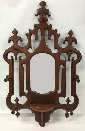19thc Victorian Wall Mounted Hat Rack & Frame