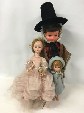 Three (3) Vintage Dolls, One In Foreign Dress