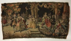 Large Antique Polychrome Wool Tapestry, Court Scene
