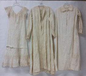 Lot Of Three (3) Victorian Night Gowns, Dressing Gowns