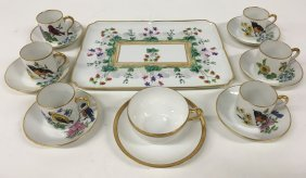 Floral Limoges Tray With Limoges Bird Tea Set