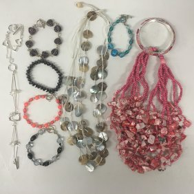 Costume Jewelry: Mop, Enamelware, Crystal Beads