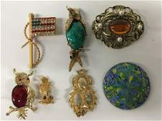 Mid Century Vintage costume jewelry, Owls