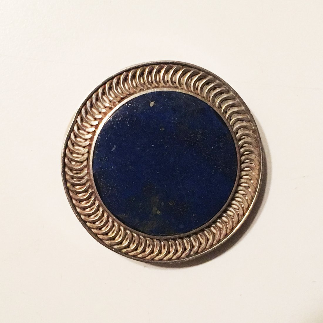970 Sterling silver and lapis pin pendant