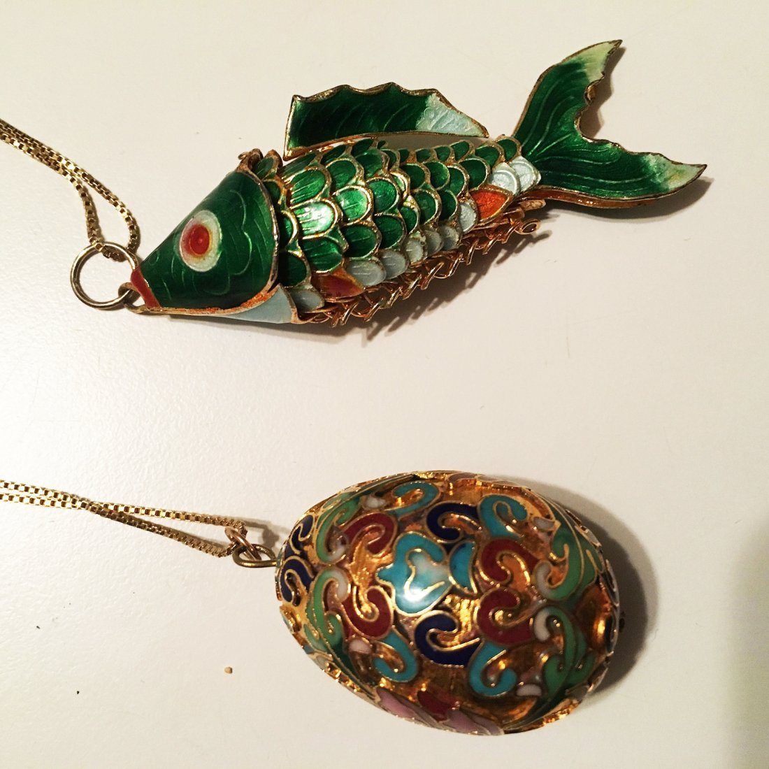 Cloisonne fish and Egg pendants with sterling silver