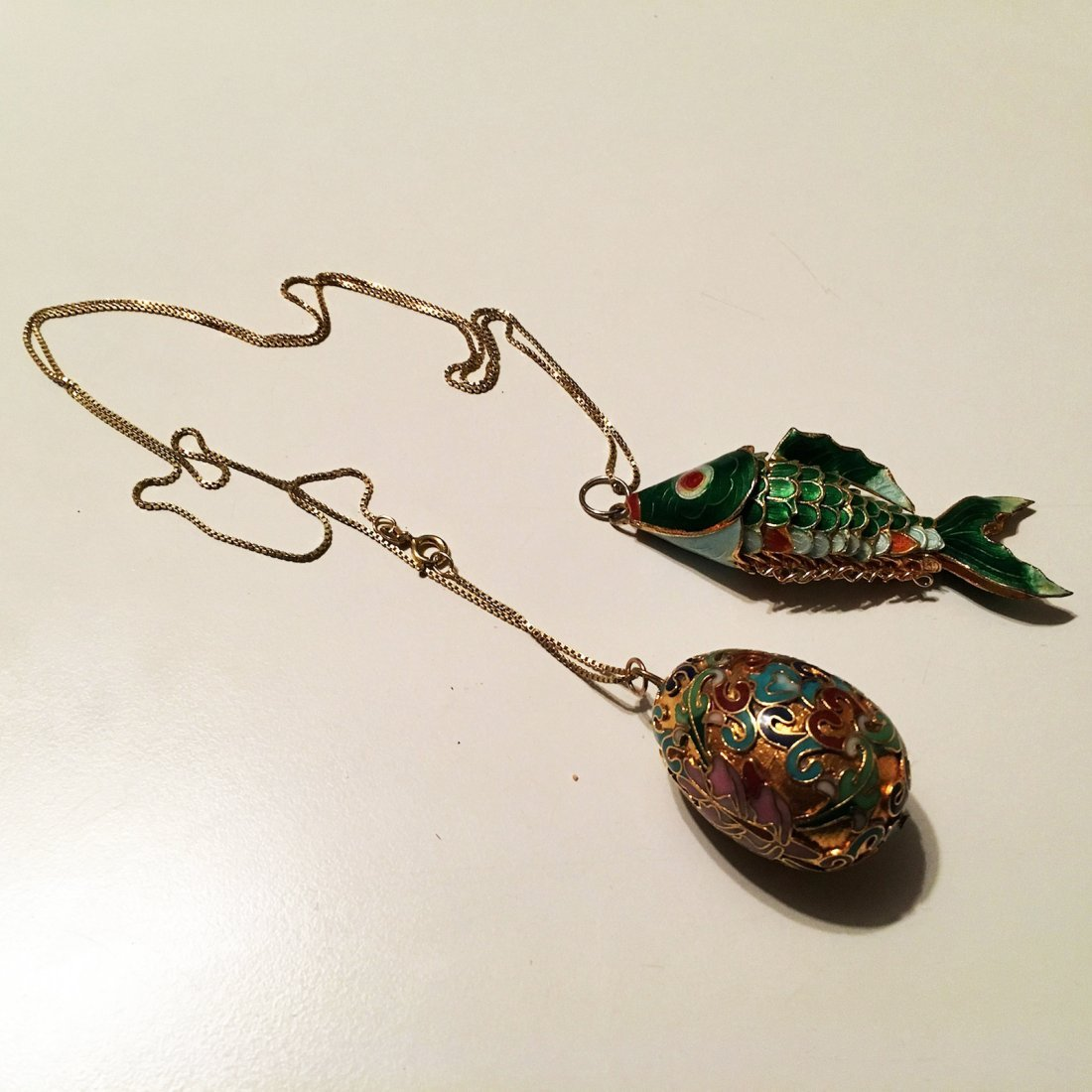 Cloisonne fish and Egg pendants with sterling silver - 2
