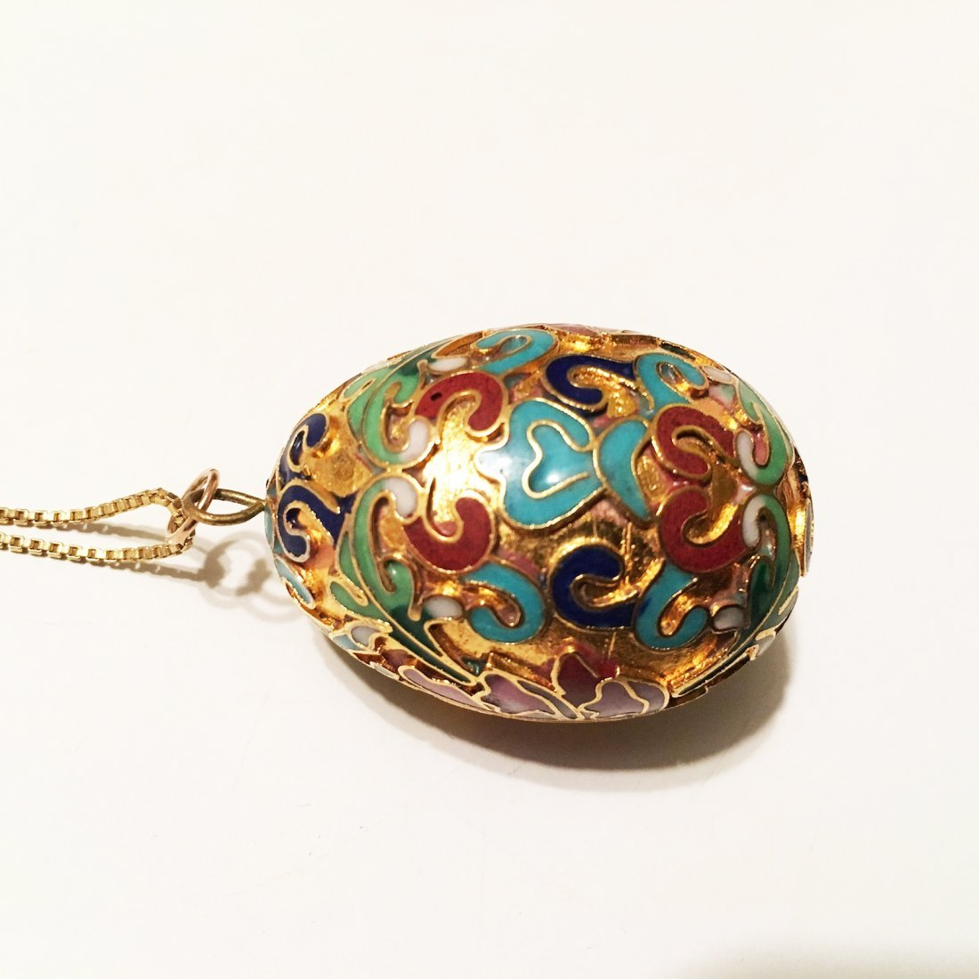 Cloisonne fish and Egg pendants with sterling silver - 4