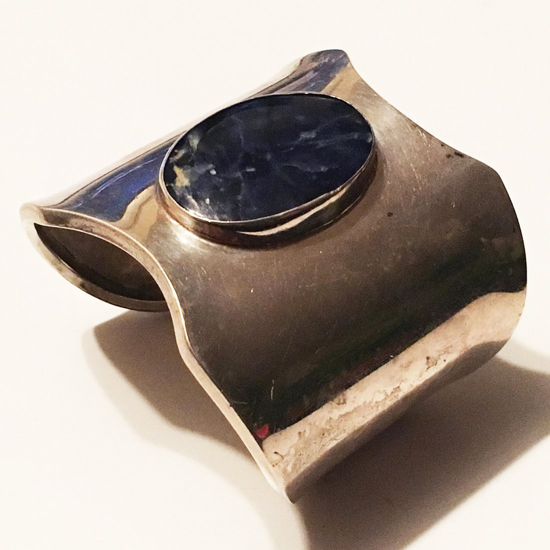 Impressive 925 Sterling Silver and Lapis Cuff