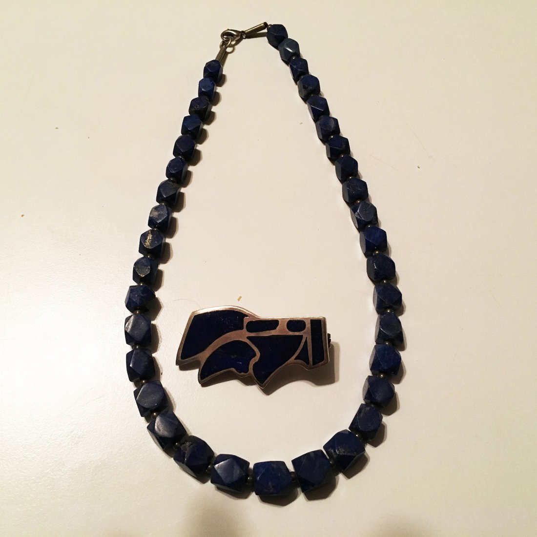 Sterling Silver Lapis pin with Lapis block Necklace