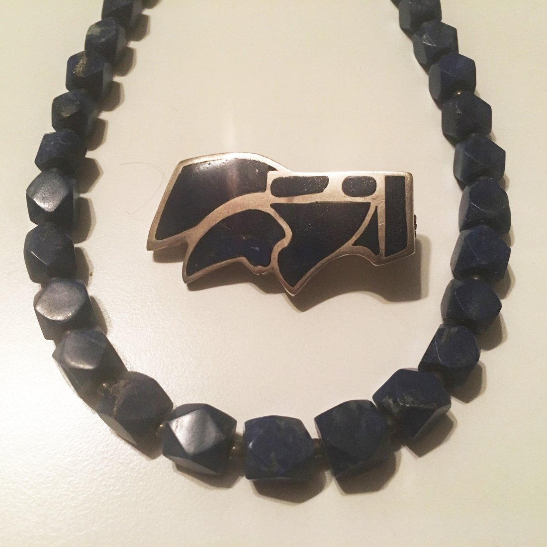 Sterling Silver Lapis pin with Lapis block Necklace - 3