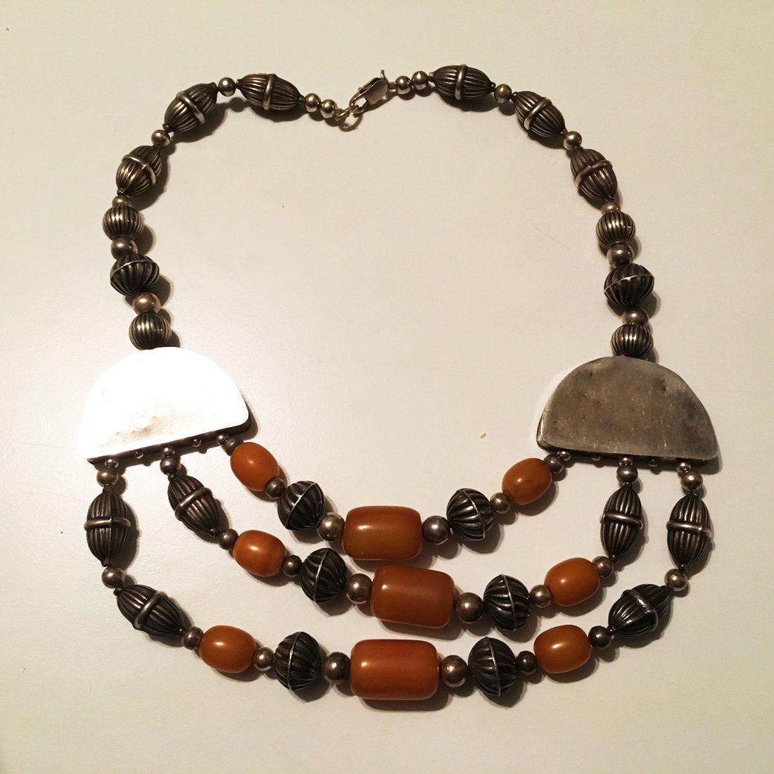Sterling Silver and Amber Necklace - 4