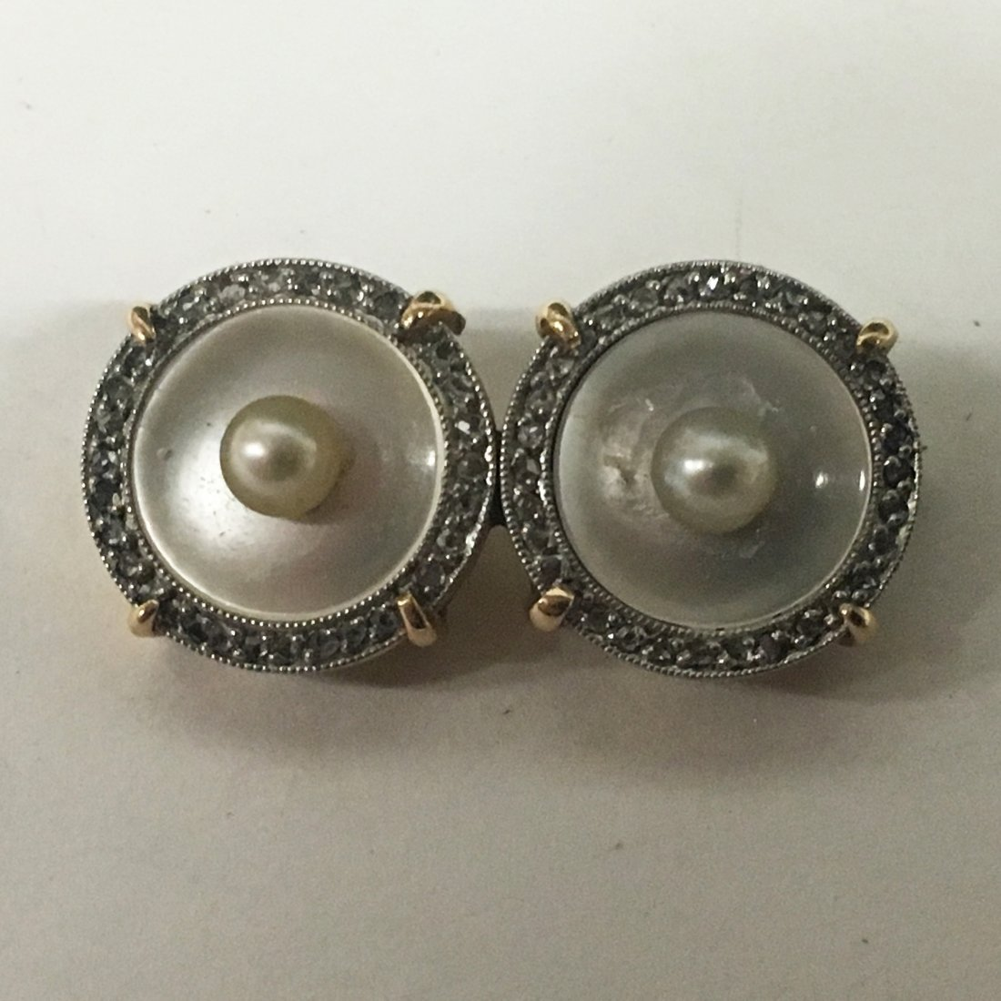 Twin Diamond and Pearl Pin