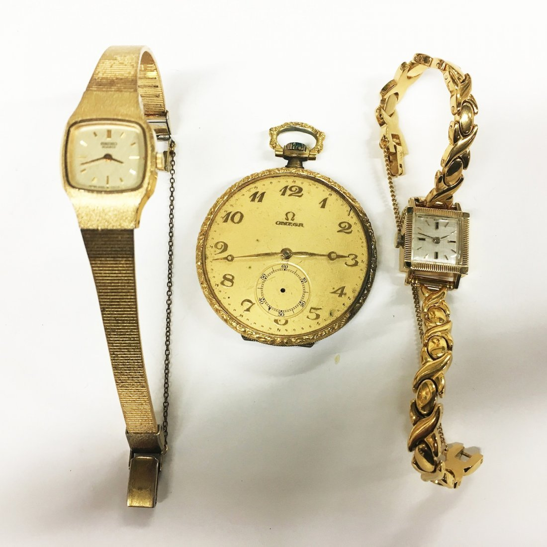 Omega Pocket watch and two wristwatches