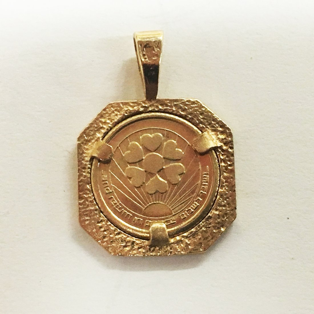 Two gold Judaica pendants, 14K with sapphire - 2