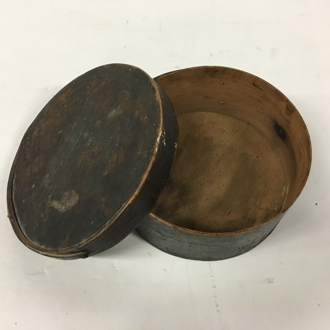 Original Dark Stain Primitive Round Pantry Box - 4