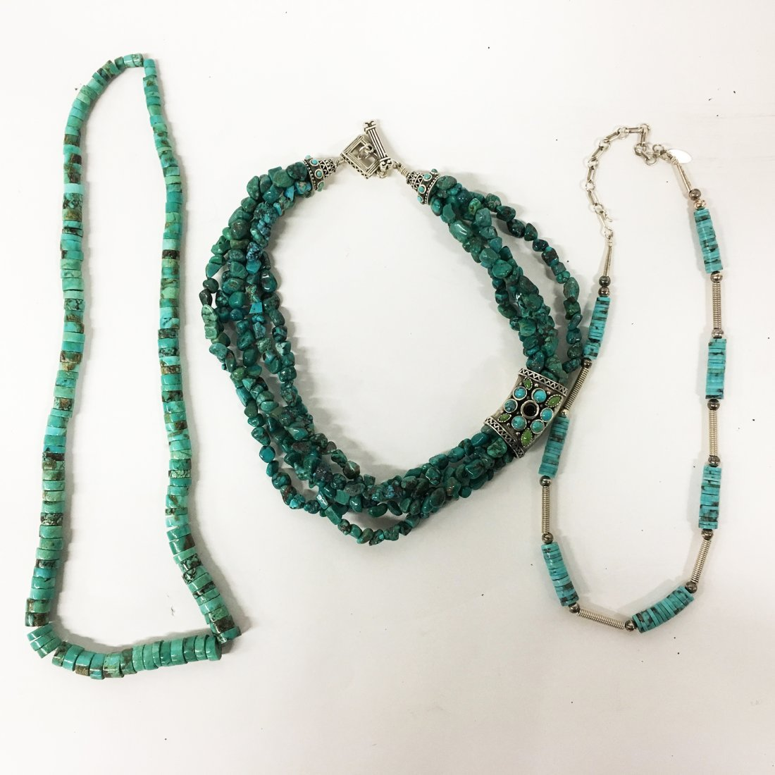 Turquoise and Sterling necklaces with gemstone accents