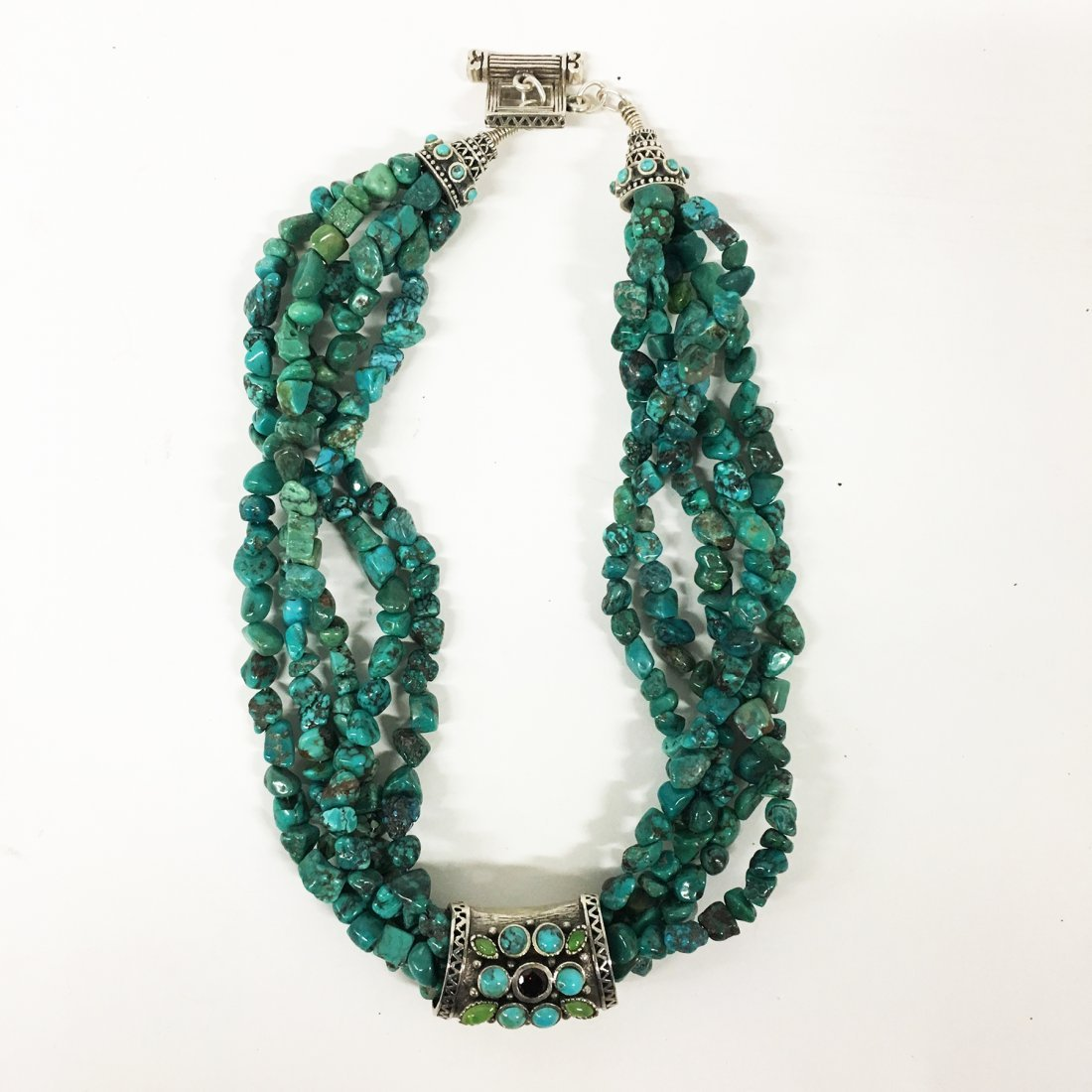 Turquoise and Sterling necklaces with gemstone accents - 2