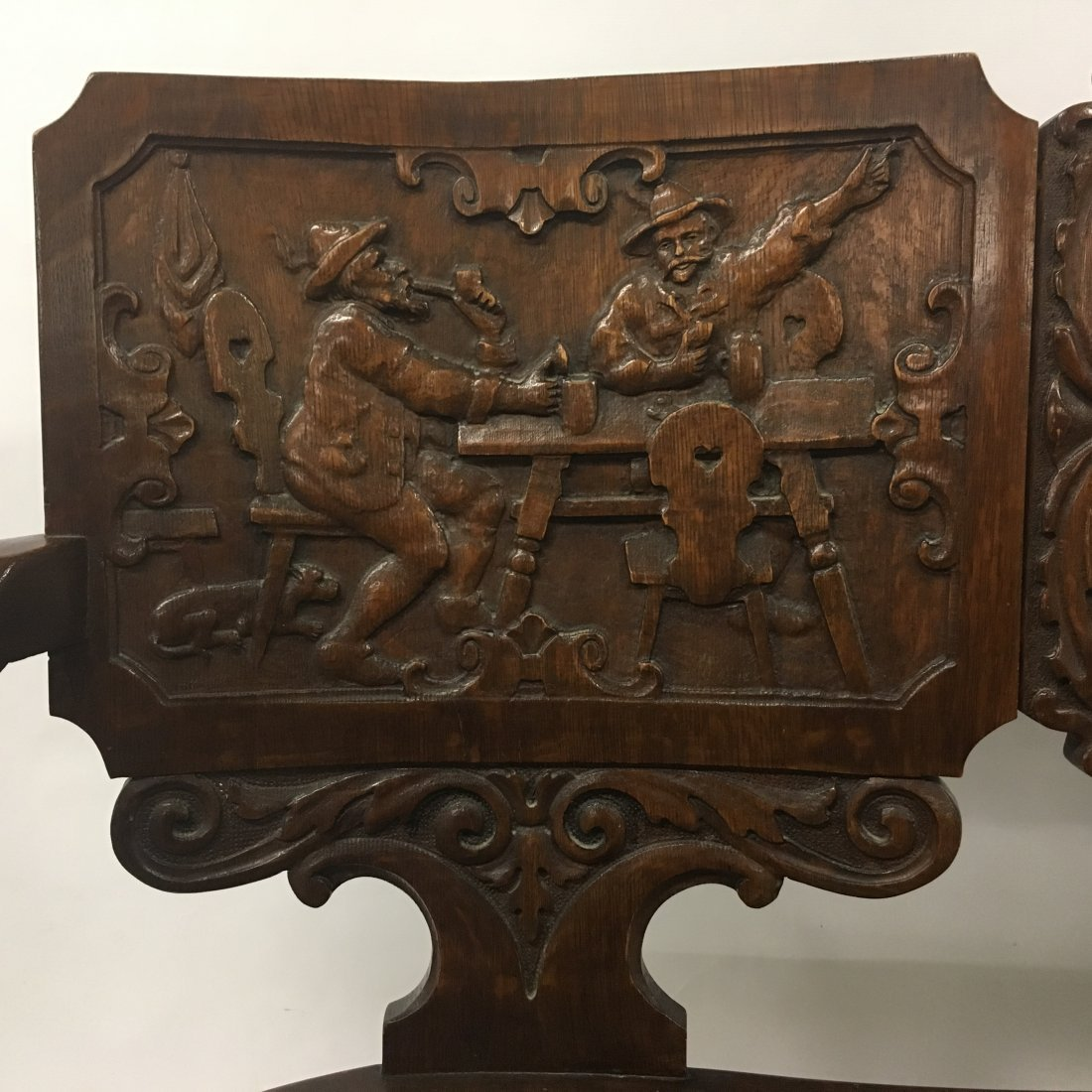 Figural carved Oak two person Decorative bench - 2