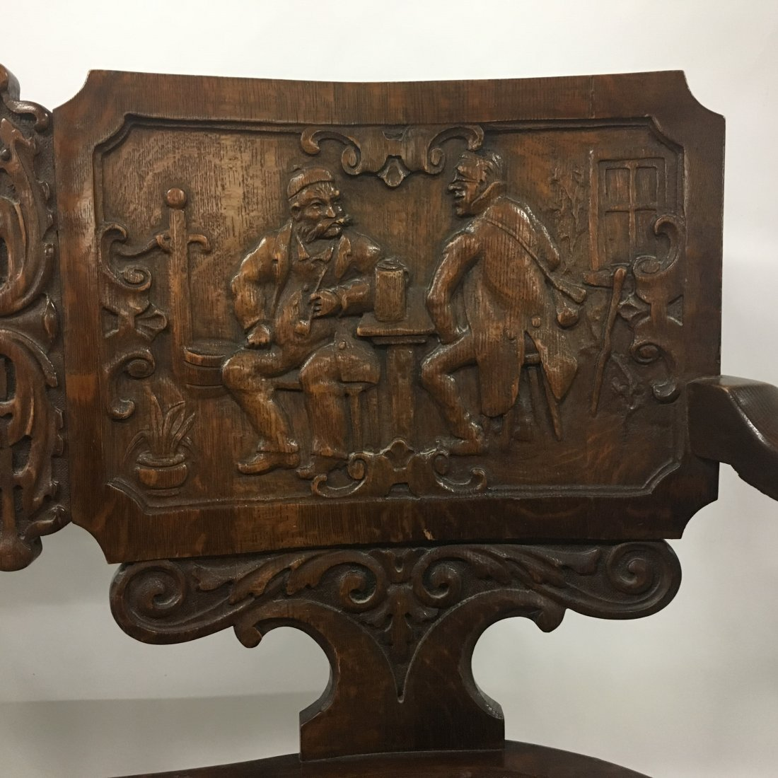Figural carved Oak two person Decorative bench - 3