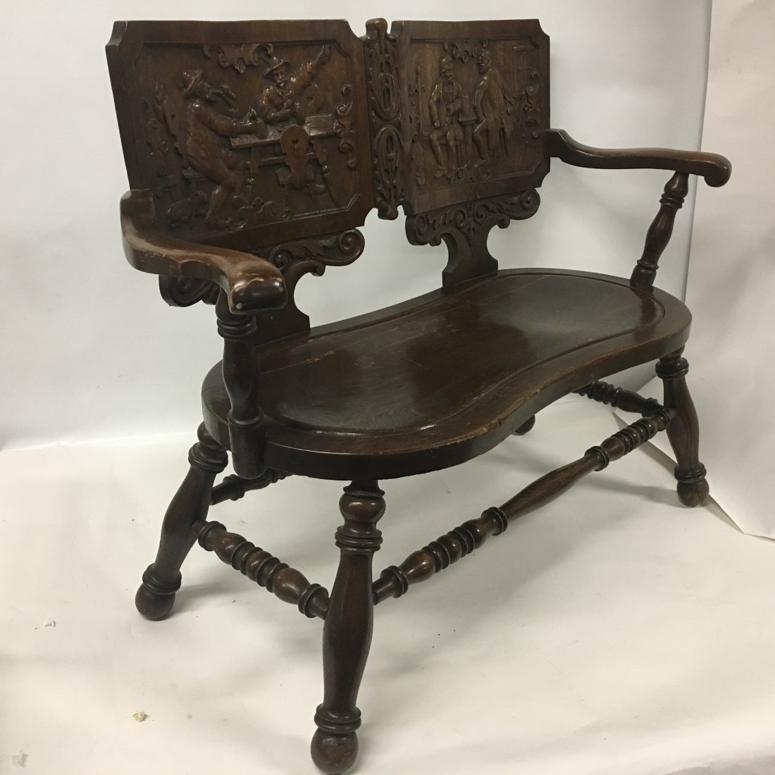 Figural carved Oak two person Decorative bench - 5