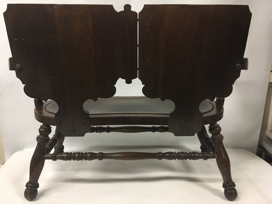 Figural carved Oak two person Decorative bench - 7