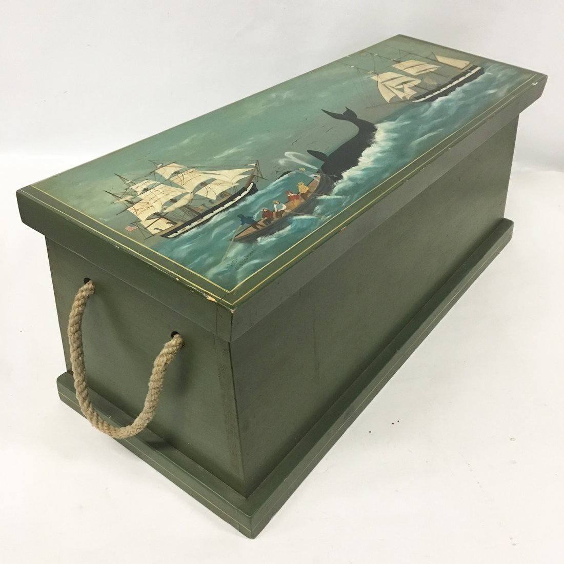 Nantucket Whaling scene painted blanket chest, signed