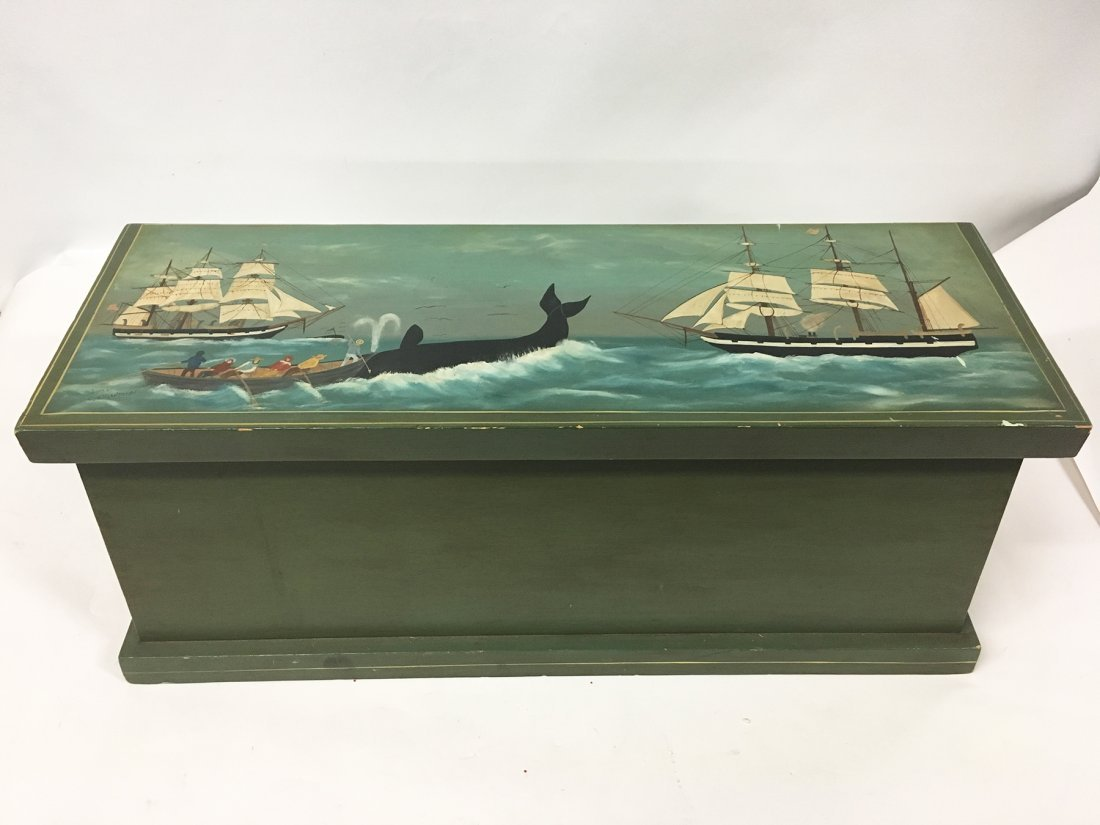 Nantucket Whaling scene painted blanket chest, signed - 3