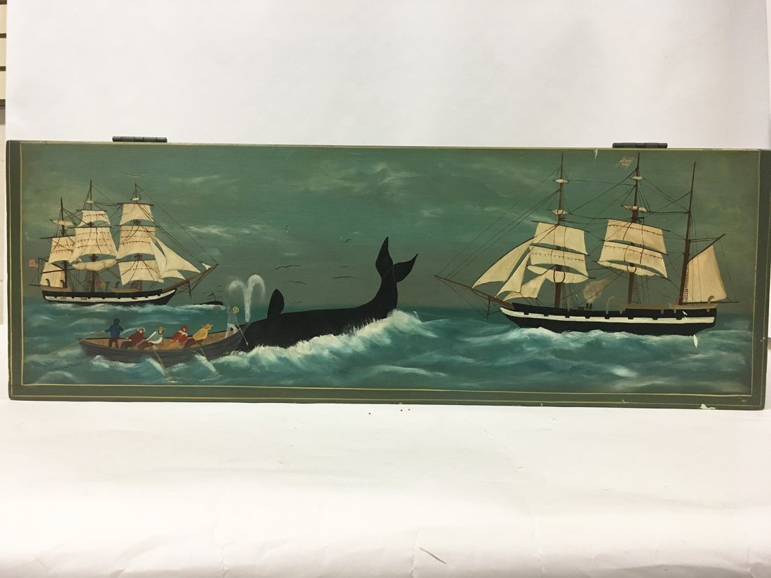 Nantucket Whaling scene painted blanket chest, signed - 4