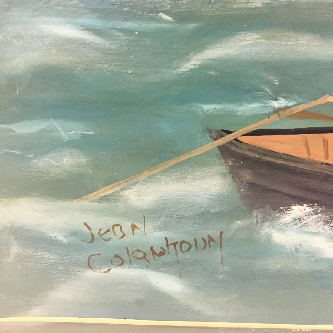 Nantucket Whaling scene painted blanket chest, signed - 6
